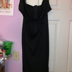 Black cutout bodycon midi dress